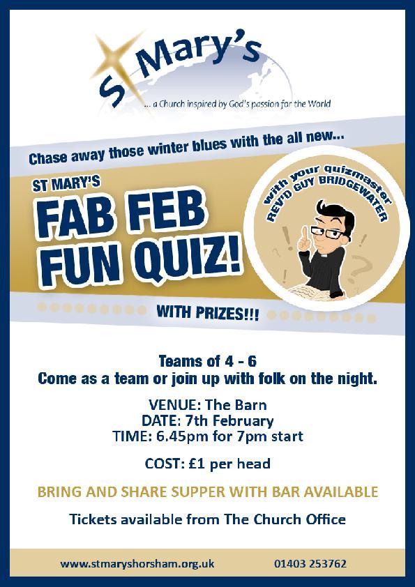St Mary's Fab Feb Fun Quiz 7th Feb – St Mary's Horsham
