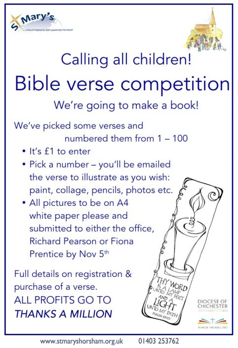 """Please note, the deadline for the """"Illustrate a Bible Verse"""" project has been extended by 2 weeks to 19 November instead of 5th Nov as it says in the poster."""